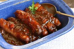 Pork sausages cooked in a typical South African Monkeygland Sauce.no monkeys were harmed during the process :) Polish Sausage Recipes, Pork Sausage Recipes, Grilled Sausage, Sweet Sauce, Food Photo, Food For Thought, Carne, Main Dishes, Food And Drink