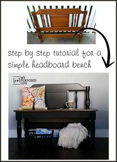step by step tutorial for a simple headboard bench.  I'm finally going to give this a try! MyRepurposedLife.com