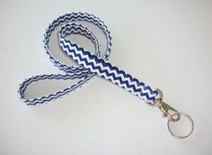 Lanyard  ID Badge Holder  NEW THINNER design  Blue by Laa766, $7.75  Great for teachers, coaches, nurses, and students. preppy / fabric /cute / patterns / key chain / keychain / girly / badge / key leash / graduation gift