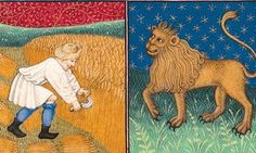 The constellation Leo, from a 15th-century French Book of Hours, depicting the occupations of the month and zodiac signs.