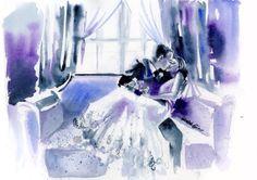 "Original Watercolor Painting Wedding Day Romantic Couple Kiss Wall Art/Decoration 11""X14"" by Kristin Glaze"