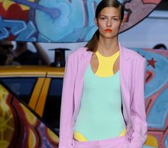 Who else but @Deena Korman to give us clean sportswear in the freshest pastel shades? We're loving this playful combo with a 90's feel ...