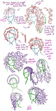 Short, long, wavy, curly, hair,    afro, paris, zombie, draw, drawing, how to