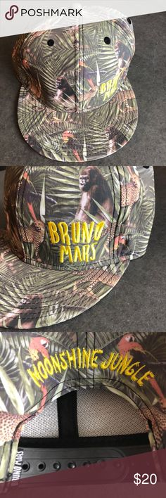 "Bruno Mars Moonshine Jungle Hat Bruno Mars Moonshine Jungle Hat in Excellent condition. ""ml"" written in interior tag. Other than that, the hat is in mint condition. One size fits all snap back. Please contact me with any questions. Bruno Mars Accessories Hats"