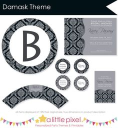 Damask Party theme, personalized printables