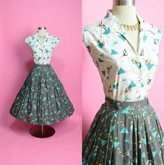 """This is no longer available on Etsy. But, it's an awesome dress!  Egyptian Novelty Print 1950's Vintage Cotton Two Piece Set Palm Trees Camels Button Down Blouse and Matching Circle Skirt 28"""" Waist Medium"""