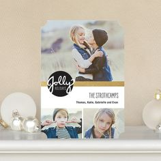 Jolly Jubilee - #Holiday Photo Cards in black, white and gold