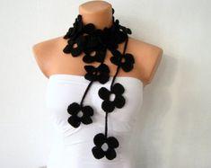 Collar de abalorios ganchillo Lariat collar collar por SeaAsparagus