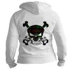 Clan Allison Tartan Skull has a skull and crossbones with a banner bearing the clan name. Show off your pride in your Scottish heritage with this cool tartan!