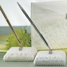 Bridal Tapestry Satin Wrapped Pen Set - White