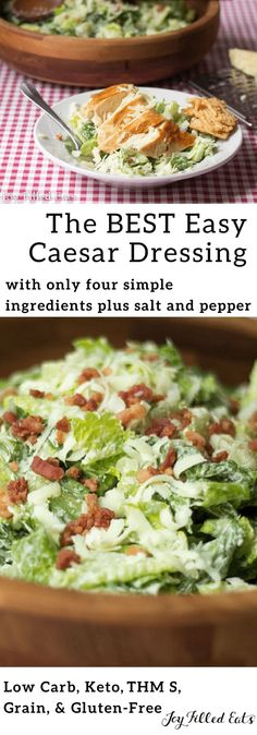 Easy Caesar Dressing - Low Carb, Keto, THM S, Gluten-Free, Grain-Free - How to make Caesar salad dressing: just mix together 4 simple ingredients and season with salt and pepper. My makes this for dinner for us at least once a week without any help. Low Carb Dressing, Ceasar Salat, Keto Approved Foods, Keto Sauces, Healthy Sauces, Keto Diet Benefits, Salad Dressing Recipes, Caesar Salad Recipes, Salads