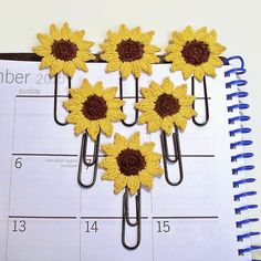 Sunflower Planner Paper Clips Set of 3 6 or by RecycledSerendipity