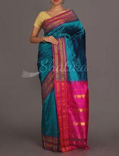Peacock Blue And Plush Pink Traditional Border Pure #NarayanpetSilkSaree