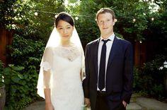 Priscilla Chan e Mark Zuckerberg em foto do casamento (Foto: Reprodução)