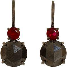 Sidney Garber Ruby & Black Diamond Earrings