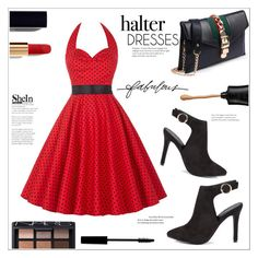 """Red Polka Dot Halter Dress"" by mycherryblossom ❤ liked on Polyvore featuring Stella & Dot, Chanel, NARS Cosmetics and Lord & Berry"