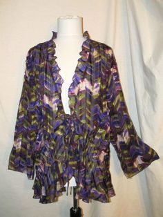 Sz 3X Notations Woman Chiffon Shrug 3/4 Sleeves Tie Front Purple Green Geometric