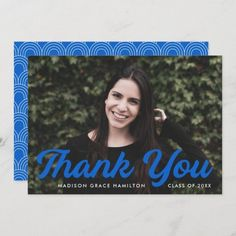 """Graduation thank you card personalized with the graduate's photo, name, and graduation year. """"Thank You"""" is displayed in a bold blue script font. Designed by Late Bloom Paperie. #graduationthankyoucards #graduationthankyounotes #graduationthankyoucardswithphoto #graduationthankyoucardtemplate #zazzle #ad Graduation Thank You Cards, Graduation Year, Graduation Party Invitations, Graduation Party Decor, Madison Grace, Graduation Cap Toppers, Thank You Card Template, Graduation Announcements, Thank You Notes"""