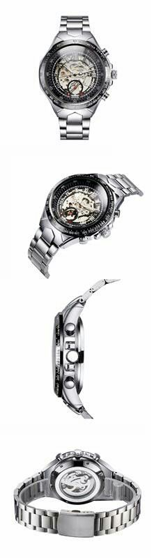 WINNER High-quality Skeleton Semi Automatic Men Mechanical Watch Tired of the classic quartz watch? OK, this automatic mechanical watch is quite a good choice for you! Not only can you see how does it work, but also can experience a sense of futuristic! You can wind the mechanical watch by turning the crown at first, then as you running or walking or just shaking the watch, it will self-winding to keep going. This watch is really cool with its see-through dial. Dual Roman & Arabic numberal…