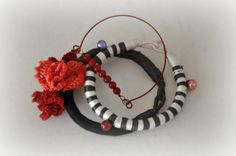 Crochet Flower Bracelets - Wrap and Rope Bangle - Arm Party Bracelets - Red and Gray - Boho Arm Candy - Winter Fashion