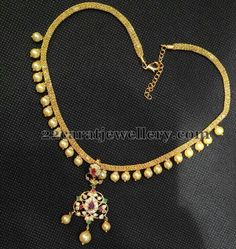 Jewellery Designs: 1 Gram Gold Simple Pearls Choker