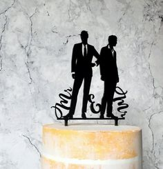 Groom and Groom Silhouette Wedding Cake Topper, Mr & Mr Cake topper, Gay Wedding, Male Couple Weddin Gay Wedding Cakes, Lgbt Wedding, Wedding Couples, Wedding Ideas, Wedding Stuff, Silhouette Wedding Cake, Couple Silhouette, Rainbow Pride, Gay Couple