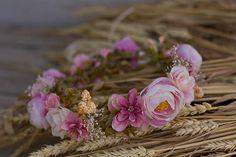 Flower head wreath head piece colorful summer flower hair
