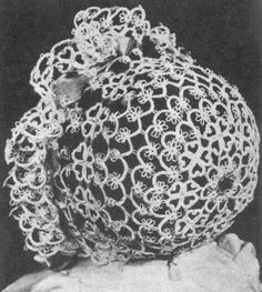 A nice vintage tatting pattern for a christening bonnet, or just a cute little bonnet, depending on your beliefs.