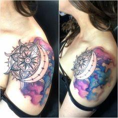 Sun and moon mandala tattoo #galaxy #tat