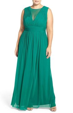 Marina Illusion Neck A-Line Gown (Plus Size) available at #Nordstrom
