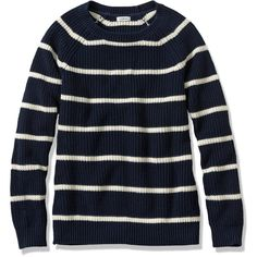 L.L.Bean Shaker-Stitch Pullover Crewneck Sweater, Stripe ($23) ❤ liked on Polyvore featuring tops, sweaters, striped pullover, blue sweater, striped sweater, stripe sweater and crew neck pullover