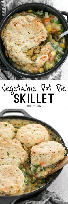 Pot Pie Skillet with Cheddar Biscuit Topping This rich and comforting Vegetable Pot Pie Skillet meal is made faster and easy for weeknight dinners thanks to frozen vegetables. This rich and comforting Vegetable Pot Pie Skillet meal is made faster and easy Veggie Recipes, Cooking Recipes, Healthy Recipes, Delicious Recipes, Frozen Vegetable Recipes, Kid Recipes, Veggie Food, Chicken Recipes, Vegetable Pot Pies