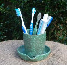 Tooth brush and paste holder hand thrown stoneware   pottery ceramic £14.99