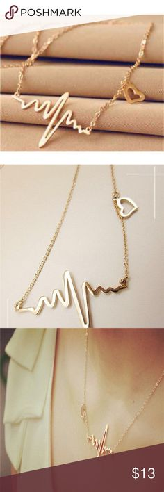 """Coming soon!  Gold Heartbeat Necklace Material: Alloy Extend Chain: 2""""  Necklace Length: 17.7"""" True Gem Boutique Jewelry Necklaces"""
