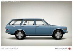 Firstcar Illustrations   Personalized Car Illustrations   Datsun 510 Wagon 1971