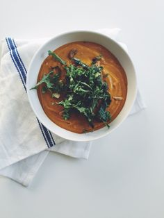 Sounds yummy, healthy & comforting!  5 ingredient Roasted Kabocha Squash Soup via simplyrealhealth.com