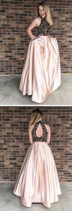 2018 long prom dress, two piece long prom dress, beaded back and champagne long prom dress with pockets
