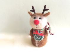 Rudolph the Red nosed reindeer wreath Needle felted by Felt4Soul