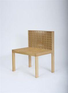 KOMPLOT DESIGN - BORIS BERLIN & POUL CHRISTIANSEN 'Grid Chair', 1999  Ash, oak. 78 cm. (30 3/4 in.) high Produced by Kapser Holst Pedersen, Denmark. One of seven known examples.