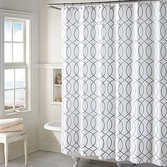 Update your bathroom with the soft detailing of the Huntley Shower Curtain. This elegant shower curtain completes any bathroom with the geometric hourglass design in grey and white.