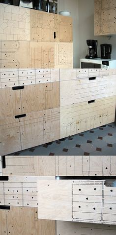 """Rotor in Brussels ~ kitchen cabinetry with industrial leftovers ~  """"The paneling of the cupboards for this kitchen is made out laser-cut plywood, an industrial leftover from a company specialized in die-cutting cardboard for the packaging of luxury-goods."""