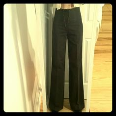 """Tall Zara trouser Charcoal grey, wide leg, high rise Zara trouser has 34"""" inseam.  High waist has a single interior button and zipper closure, very slimming.  Small closed posterior pockets and 2 side pockets. Like new from my smoke free home Zara Pants Trousers"""