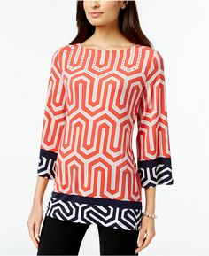 JM Collection Three-Quarter-Sleeve Printed Tunic, Only at Macy's