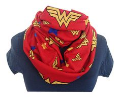 Infinity Knit Scarf, GEEK Scarves, Wonder Woman Scarf, ANY FaBRIC, Custom Made , RoOBY LANE on Etsy, $43.57