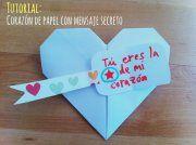 Cómo hacer un corazón de papel Este corazón de origami es un regalo muy originalcon el que seguro sorprenderás a la persona que la reciba. Puedes hacerlo para un día especial cómo San Valentín, el Día de la Madre, el Día del Padre o simplemente hacerlopara tener un detalle especial con un amigo o amiga, les encantará.   Vamos a explicarte como hacer un corazón de papel paso a paso, en el que podrás guardar un mensaje oculto para la persona que lo reciba. Cómo hacer el corazón de papel…