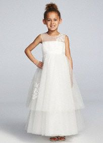 Have your flower girl really shine in the stunning floor length illusion tank ball gown with lace embellishments!  Tank bodice features beautiful illusion neckline and lace embellishment.  Tiered tulle ball gown skirt adds just the right amount of drama and fun.  Available in Ivory. Sizes 2T-14.  Fully lined. Back zip. Imported. Dry clean.