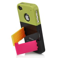 Rainbow Color  Detachable Hard Case w/ Screen Protector For iPhone 4S -  Green / Black