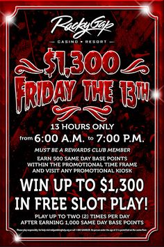 For 13 hours on Friday the 13th, you could win $1,300!!! #fridaythe13th