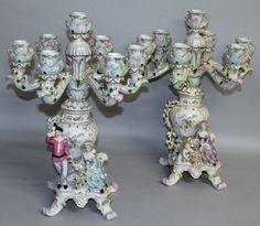 Par de candelabros em porcelana Alema Dresden do sec.19th, 52cm de altura, 2,900 USD / 2,580 EUROS / 11,610 REAIS / 19,070 CHINESE YUAN soulcariocantiques.tictail.com