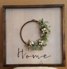 handmade wood sign with frame and embroidery hoop wreath Cute Crafts, Crafts To Make, Diy Crafts, Diy Signs, Wood Signs, Embroidery Hoop Crafts, Creation Deco, Craft Night, Handmade Home Decor